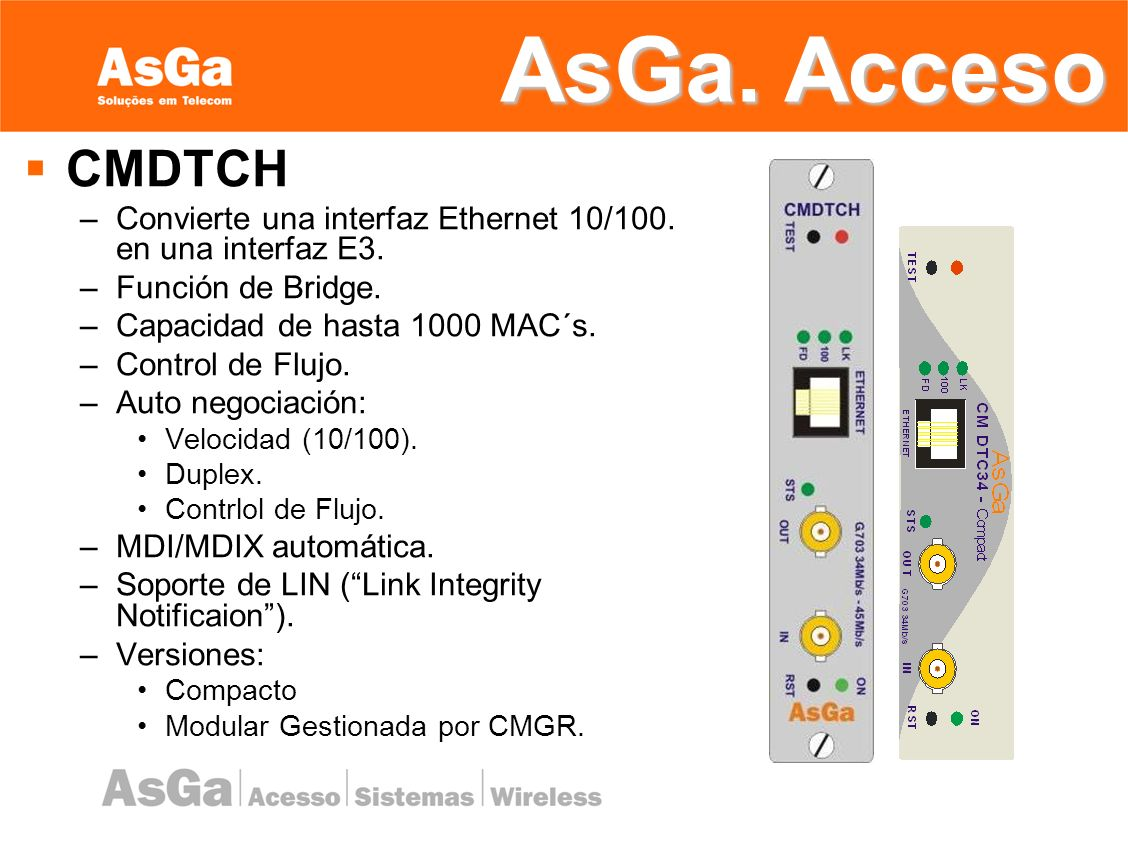 AsGa. Acceso CMDTCH. Convierte una interfaz Ethernet 10/100. en una interfaz E3. Función de Bridge.