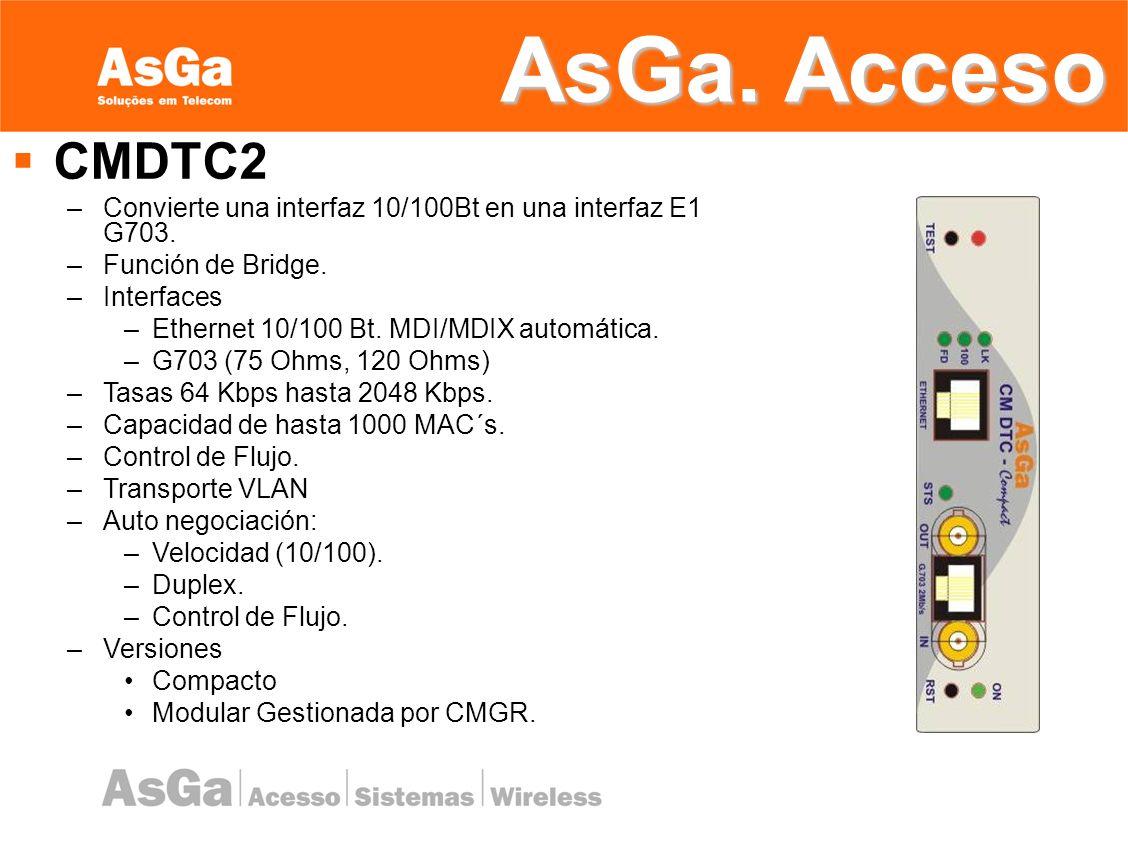 AsGa. Acceso CMDTC2. Convierte una interfaz 10/100Bt en una interfaz E1 G703. Función de Bridge. Interfaces.
