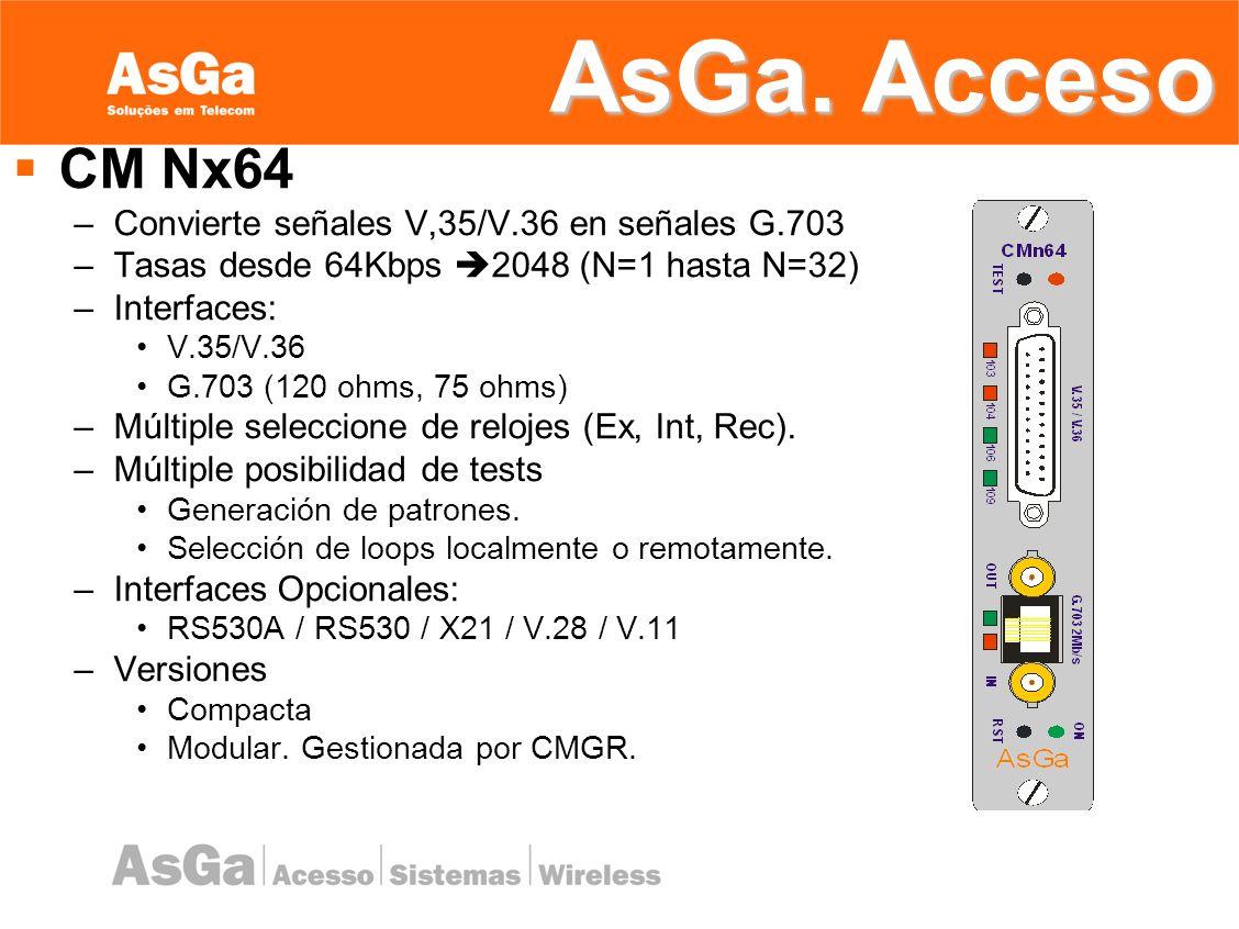 AsGa. Acceso CM Nx64 Convierte señales V,35/V.36 en señales G.703