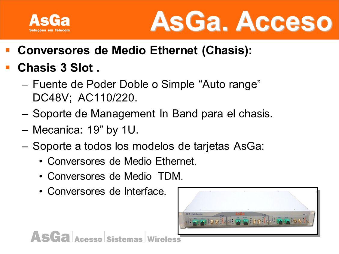 AsGa. Acceso Conversores de Medio Ethernet (Chasis): Chasis 3 Slot .