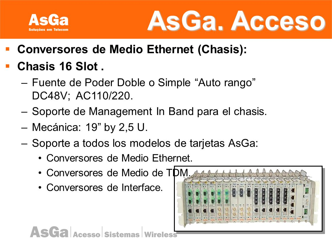 AsGa. Acceso Conversores de Medio Ethernet (Chasis): Chasis 16 Slot .