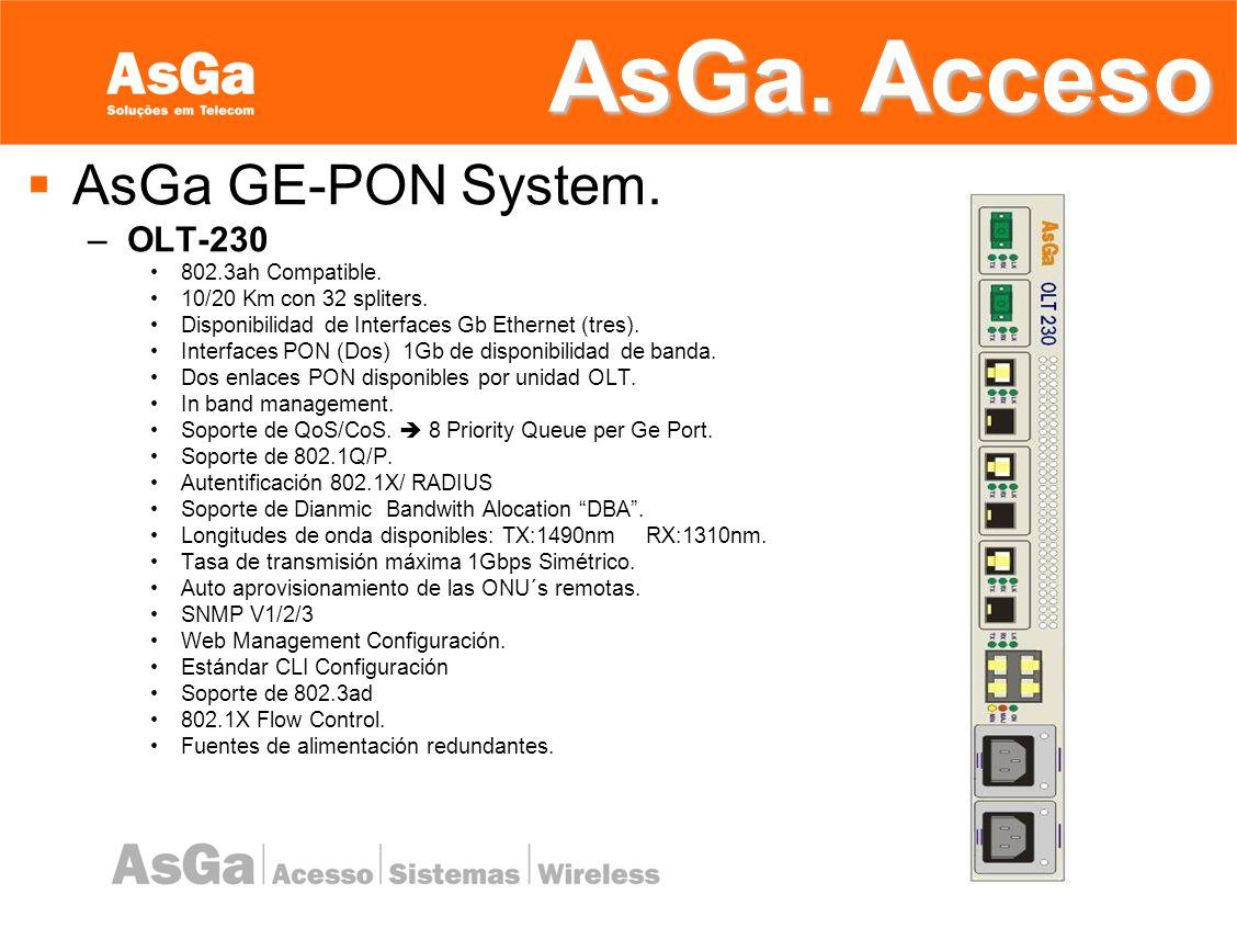 AsGa. Acceso AsGa GE-PON System. OLT-230 802.3ah Compatible.