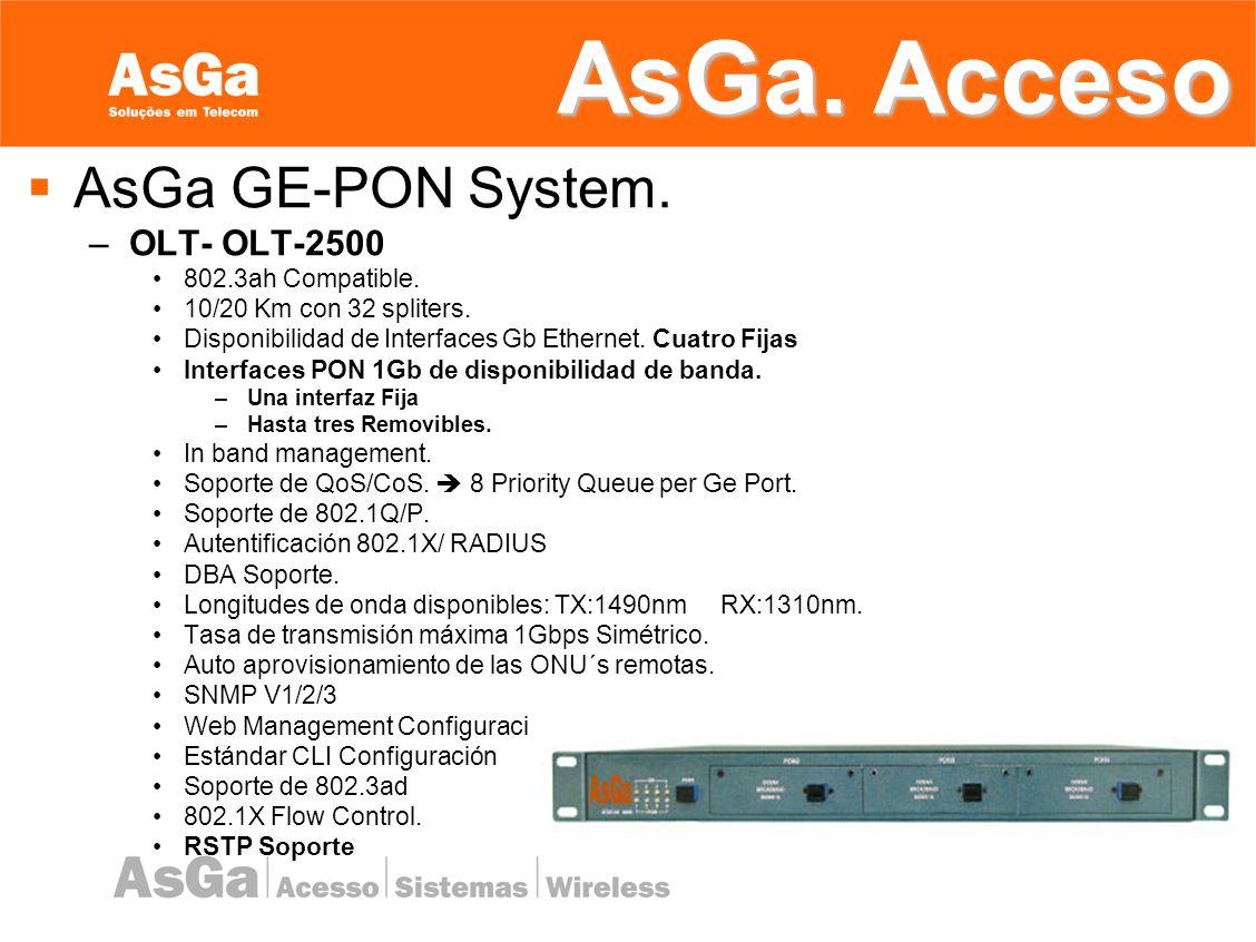 AsGa. Acceso AsGa GE-PON System. OLT- OLT-2500 802.3ah Compatible.