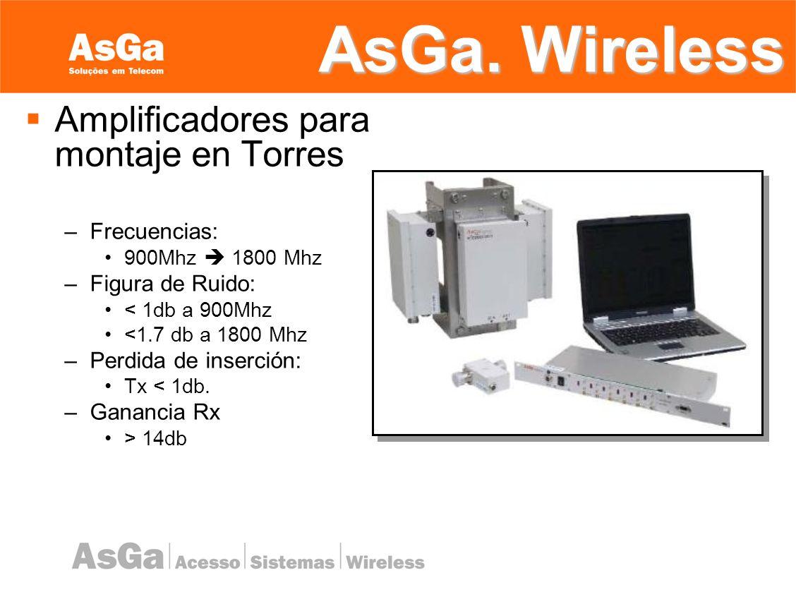 AsGa. Wireless Amplificadores para montaje en Torres Frecuencias: