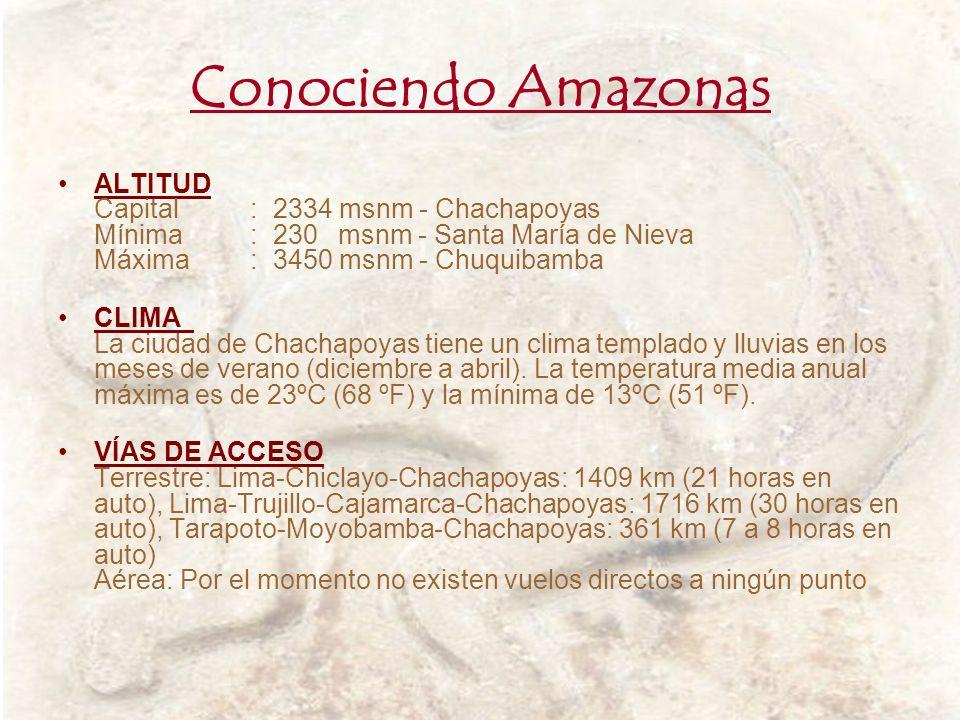 Conociendo Amazonas ALTITUD Capital : 2334 msnm - Chachapoyas Mínima : 230 msnm - Santa María de Nieva Máxima : 3450 msnm - Chuquibamba.