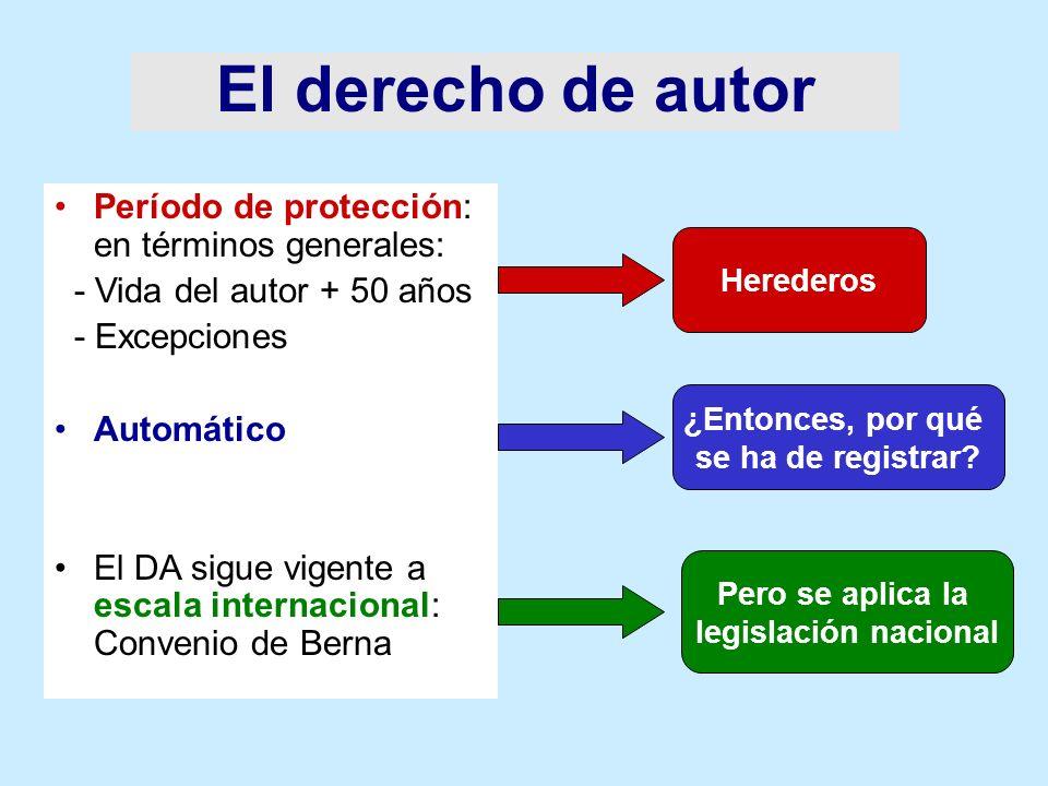 El derecho de autor Período de protección: en términos generales: