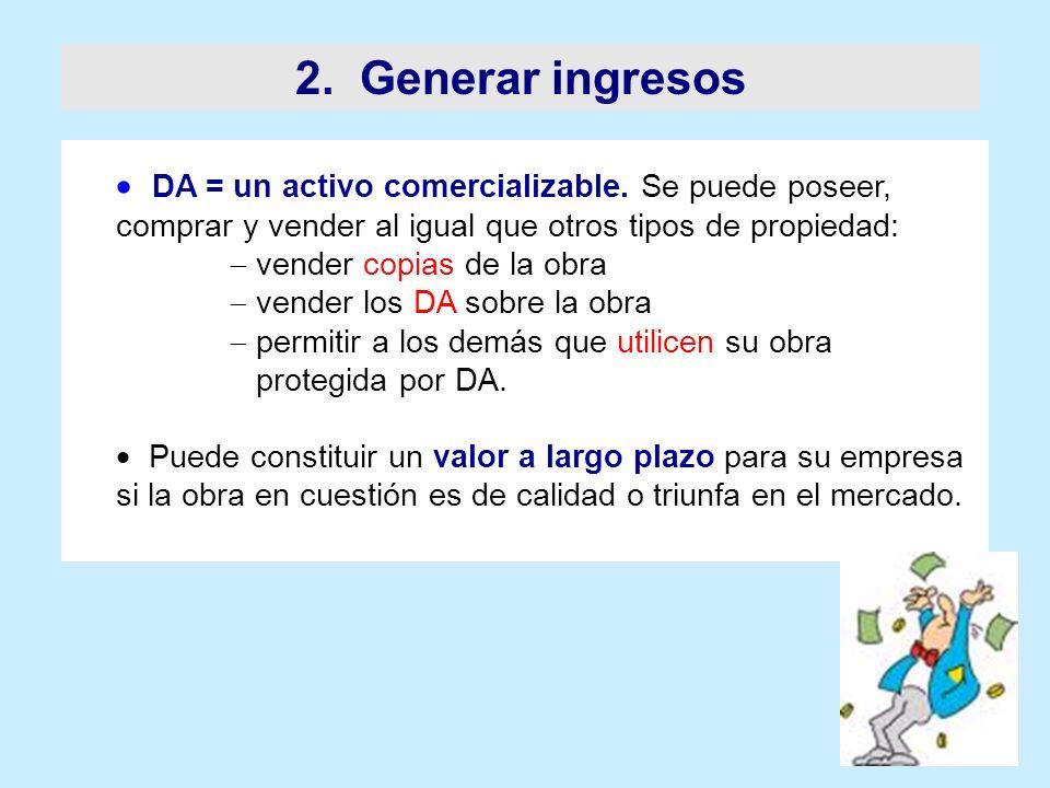 2. Generar ingresos DA = un activo comercializable. Se puede poseer, comprar y vender al igual que otros tipos de propiedad: