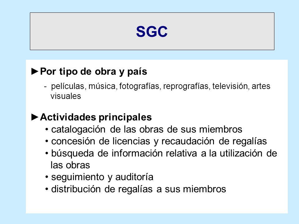 SGC Por tipo de obra y país Actividades principales