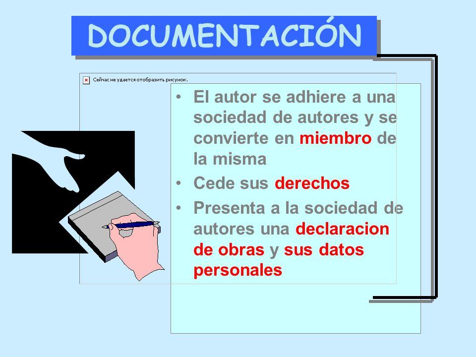 DOCUMENTACIÓN El autor se adhiere a una sociedad de autores y se convierte en miembro de la misma. Cede sus derechos.