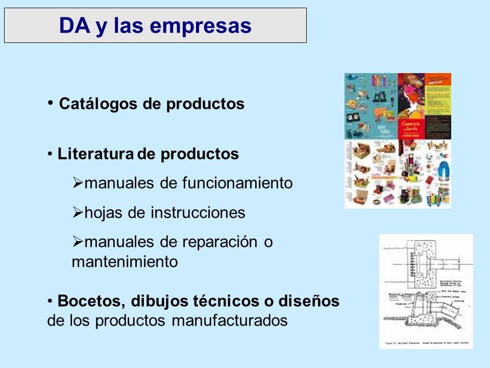 DA y las empresas Catálogos de productos Literatura de productos
