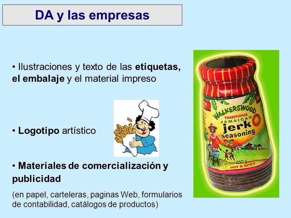 DA y las empresas Ilustraciones y texto de las etiquetas, el embalaje y el material impreso. Logotipo artístico.