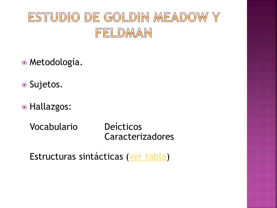 Estudio de goldin meadow y feldman