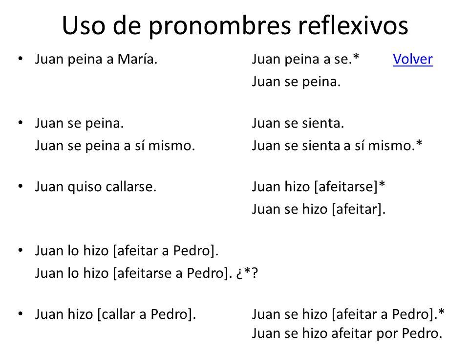 Uso de pronombres reflexivos