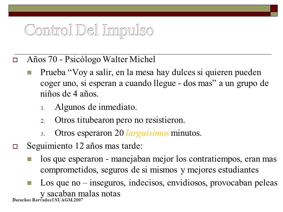 Control Del Impulso Años 70 - Psicólogo Walter Michel