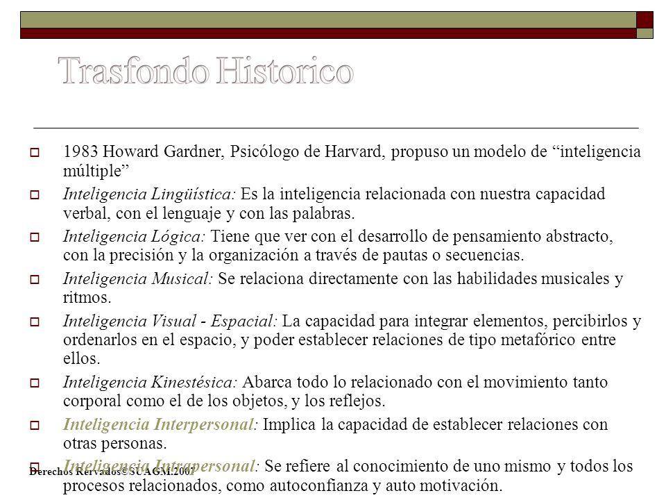 Trasfondo Historico 1983 Howard Gardner, Psicólogo de Harvard, propuso un modelo de inteligencia múltiple