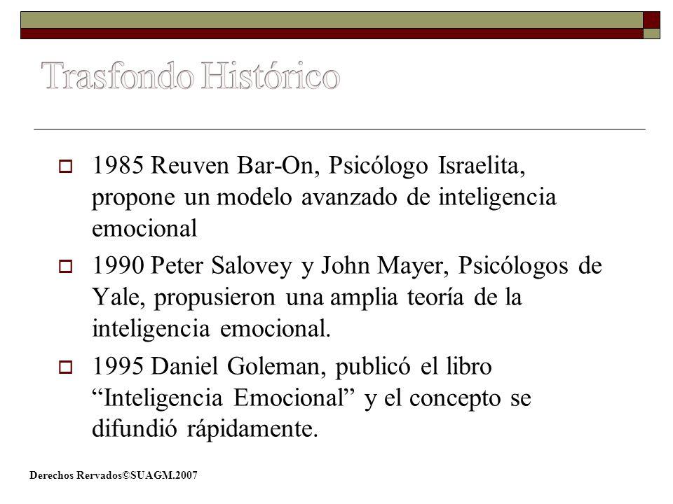 Trasfondo Histórico 1985 Reuven Bar-On, Psicólogo Israelita, propone un modelo avanzado de inteligencia emocional.