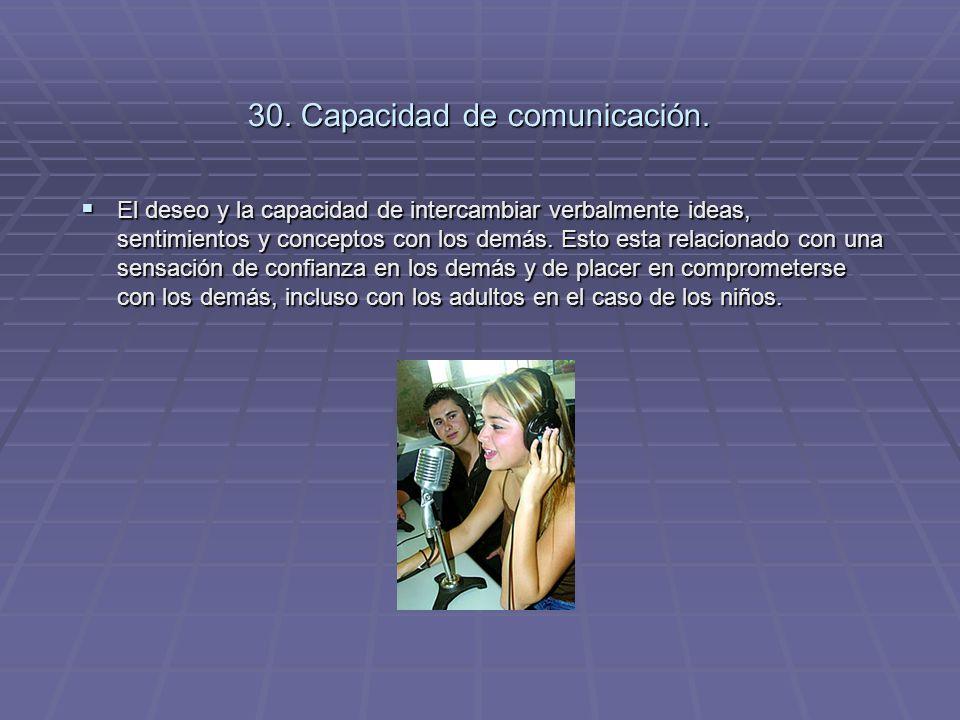 30. Capacidad de comunicación.