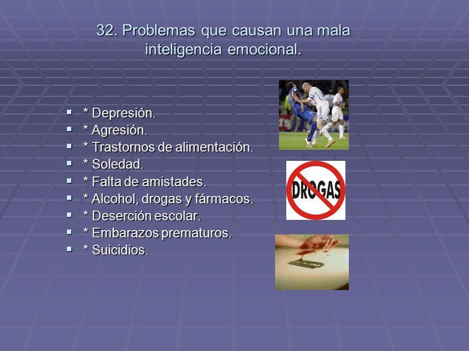 32. Problemas que causan una mala inteligencia emocional.