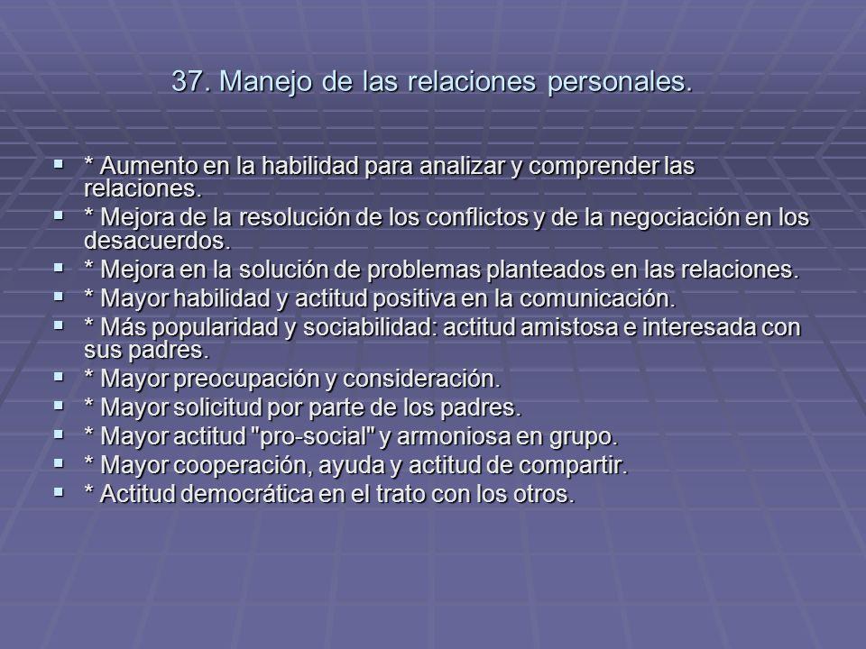 37. Manejo de las relaciones personales.