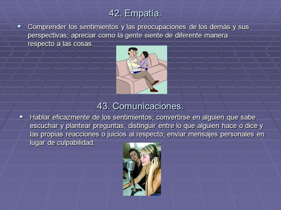 42. Empatía. 43. Comunicaciones.