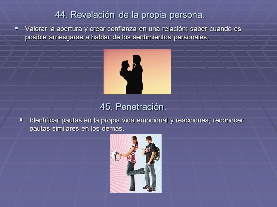44. Revelación de la propia persona.
