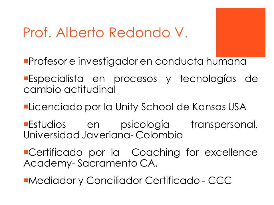 Prof. Alberto Redondo V. Profesor e investigador en conducta humana