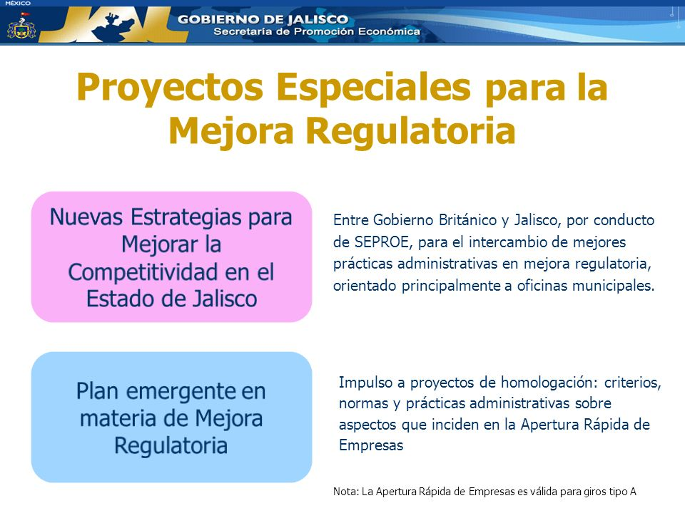 Proyectos Especiales para la Mejora Regulatoria