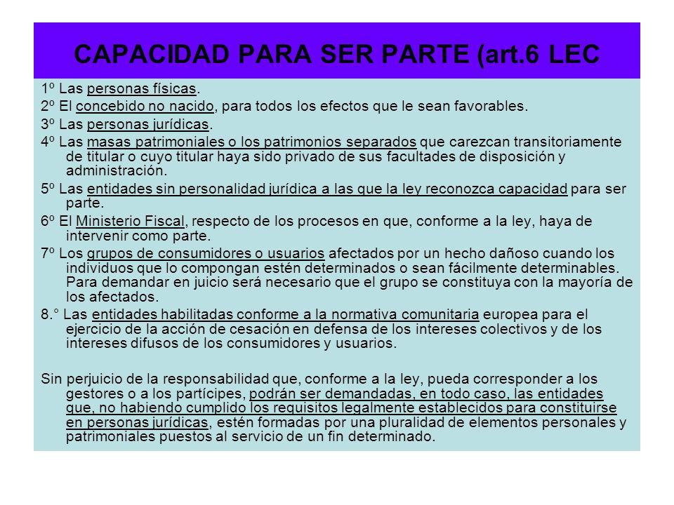 CAPACIDAD PARA SER PARTE (art.6 LEC