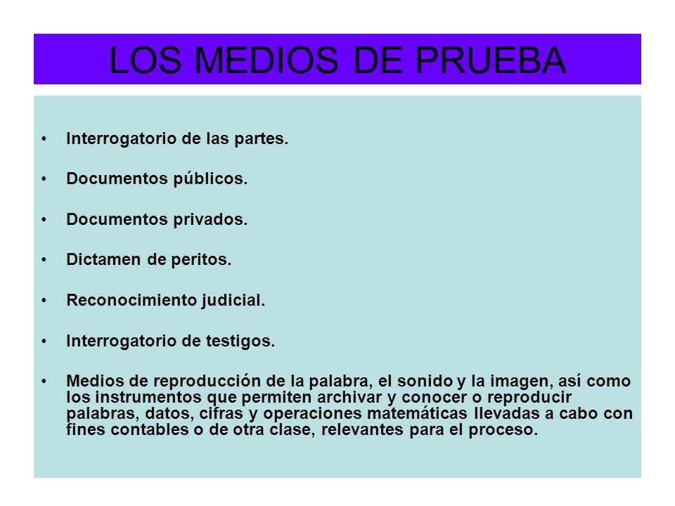 LOS MEDIOS DE PRUEBA Interrogatorio de las partes.