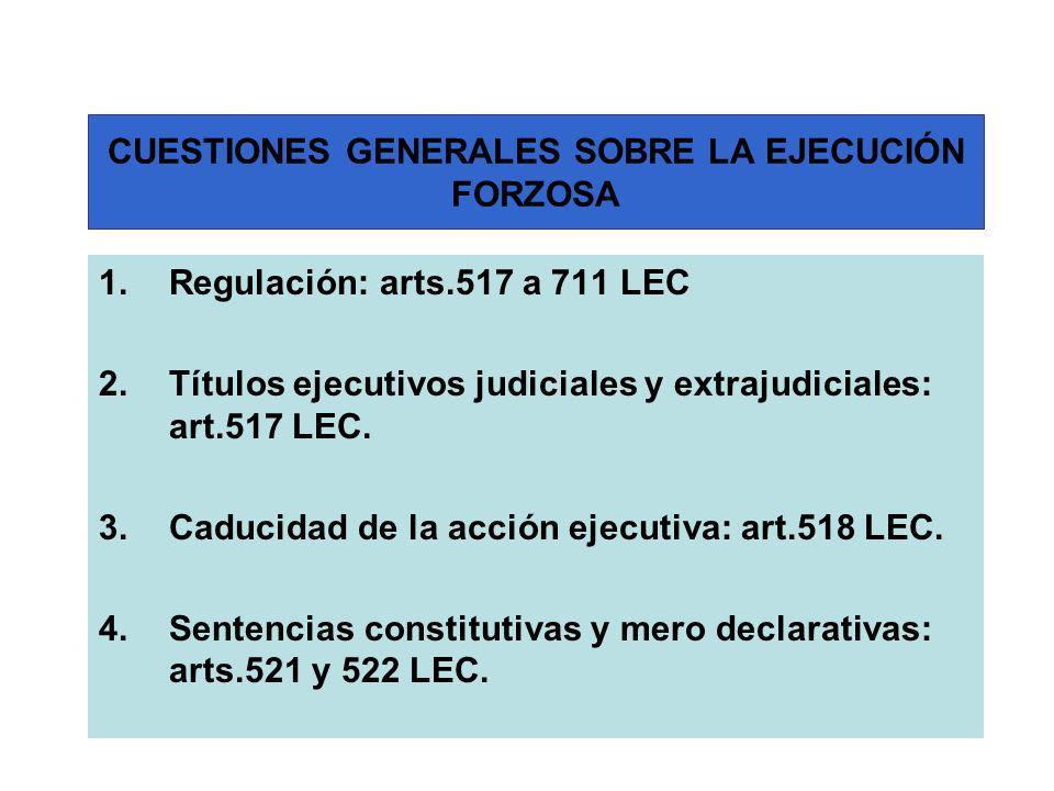 CUESTIONES GENERALES SOBRE LA EJECUCIÓN FORZOSA