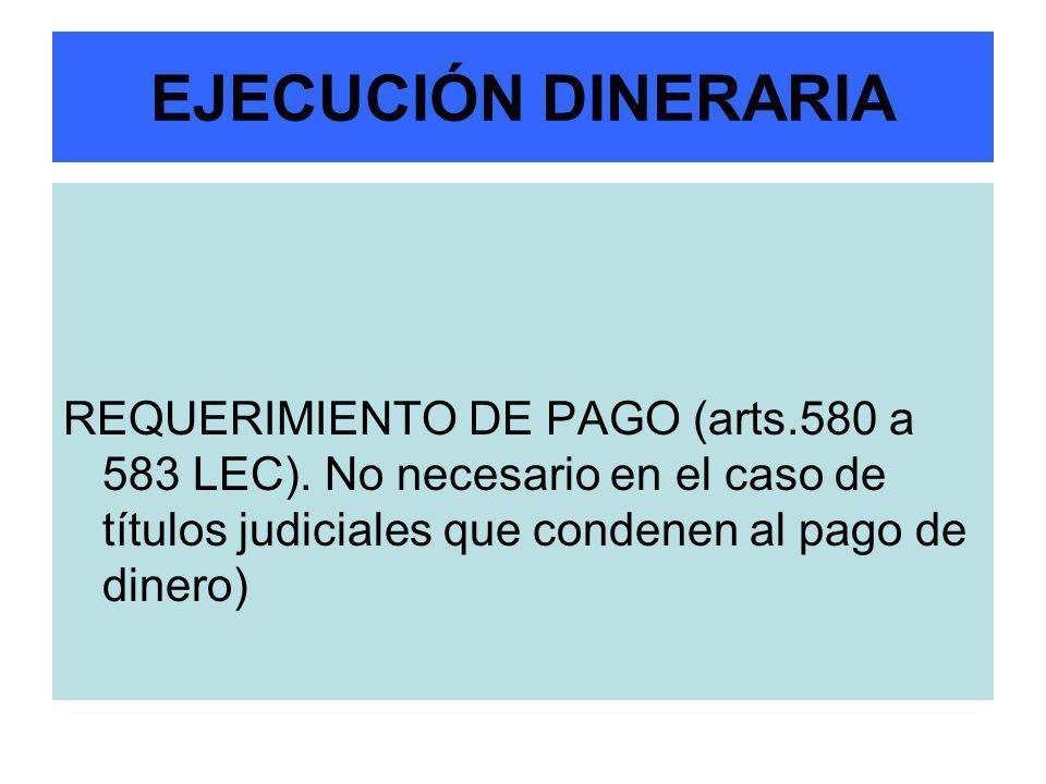 EJECUCIÓN DINERARIA REQUERIMIENTO DE PAGO (arts.580 a 583 LEC).