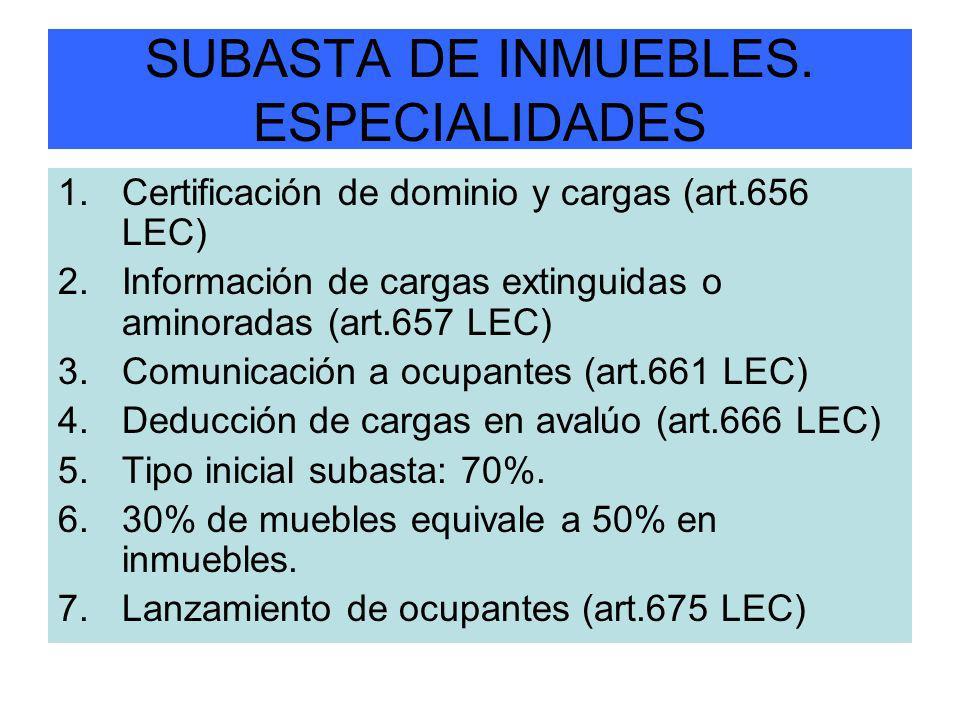 SUBASTA DE INMUEBLES. ESPECIALIDADES