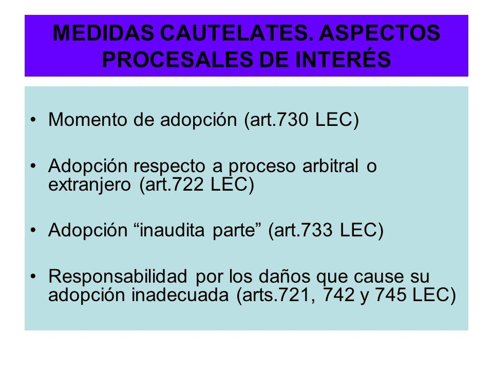 MEDIDAS CAUTELATES. ASPECTOS PROCESALES DE INTERÉS