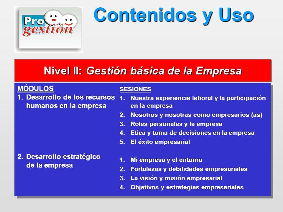 Nivel II: Gestión básica de la Empresa