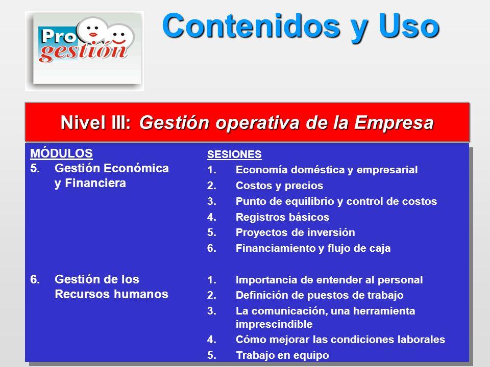 Nivel III: Gestión operativa de la Empresa