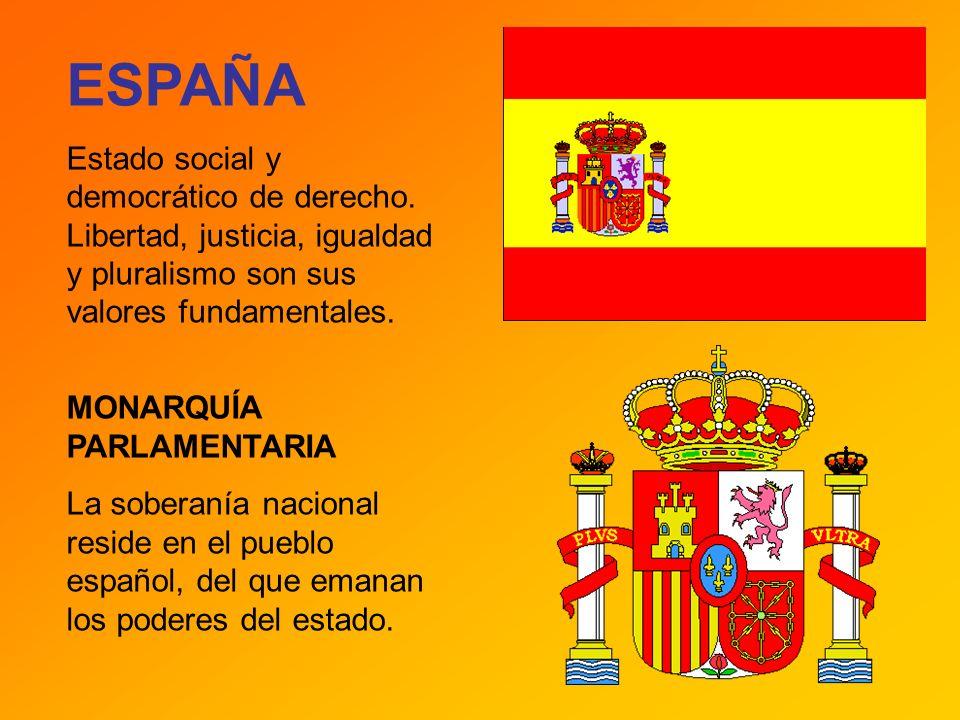 ESPAÑA Estado social y democrático de derecho. Libertad, justicia, igualdad y pluralismo son sus valores fundamentales.