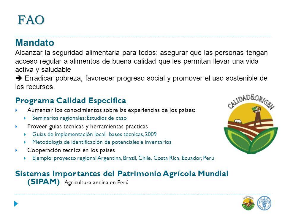 FAO Mandato Programa Calidad Especifica