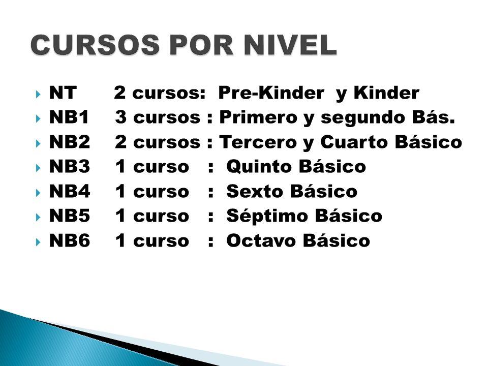CURSOS POR NIVEL NT 2 cursos: Pre-Kinder y Kinder
