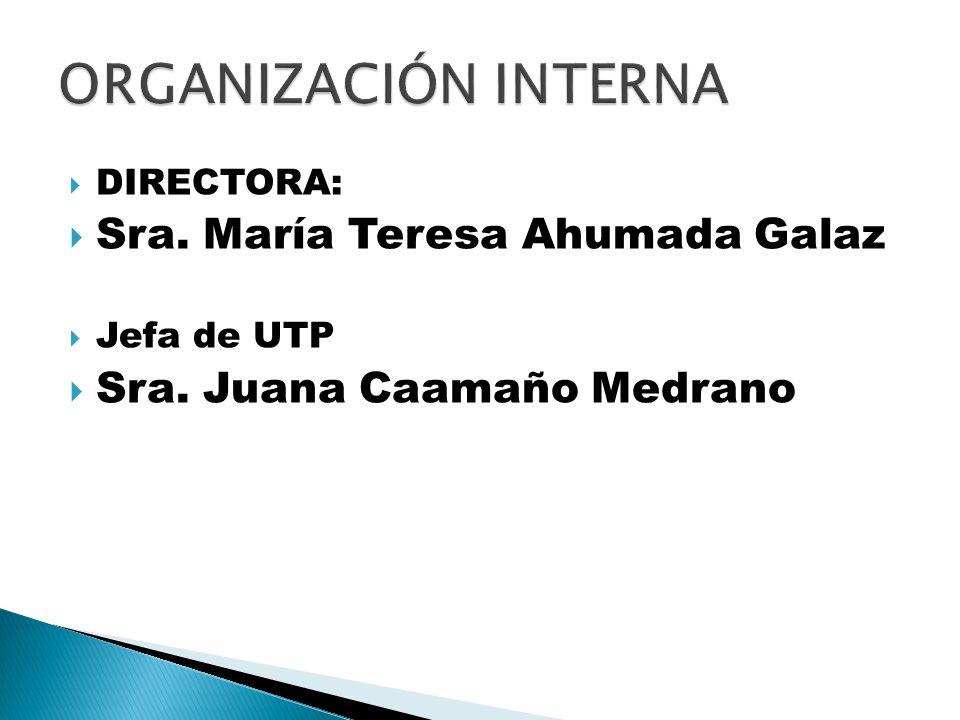 ORGANIZACIÓN INTERNA Sra. María Teresa Ahumada Galaz
