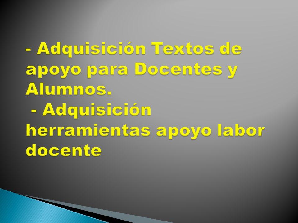 - Adquisición Textos de apoyo para Docentes y Alumnos