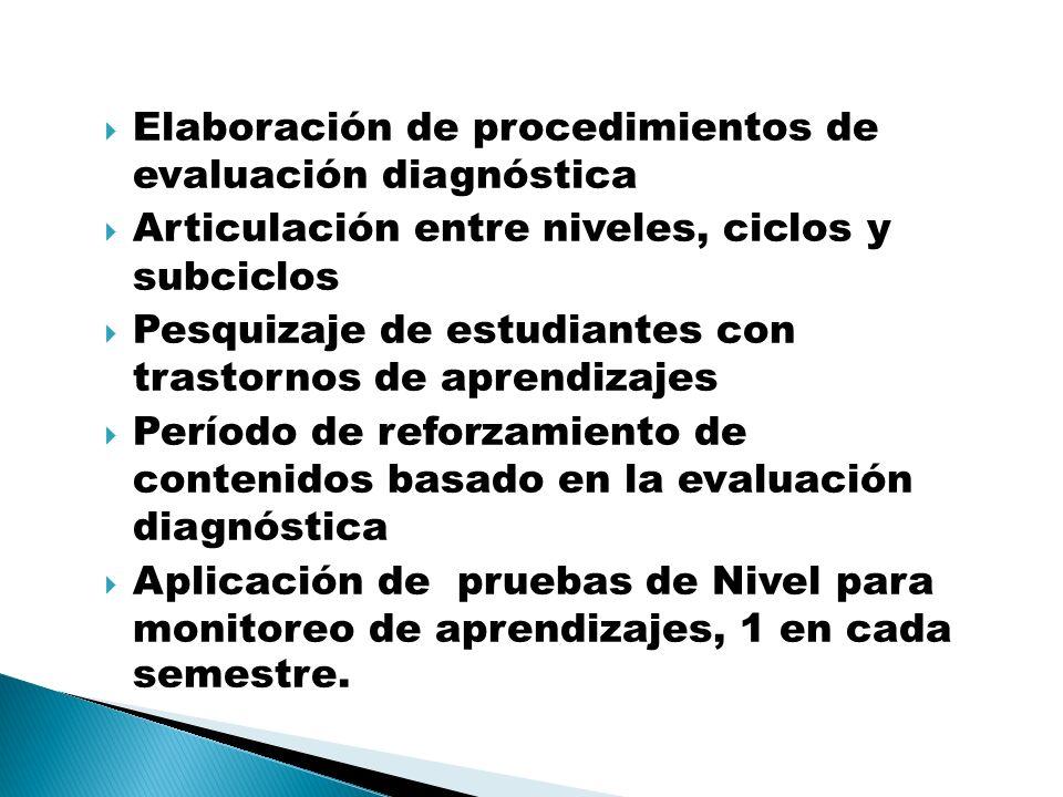 Elaboración de procedimientos de evaluación diagnóstica