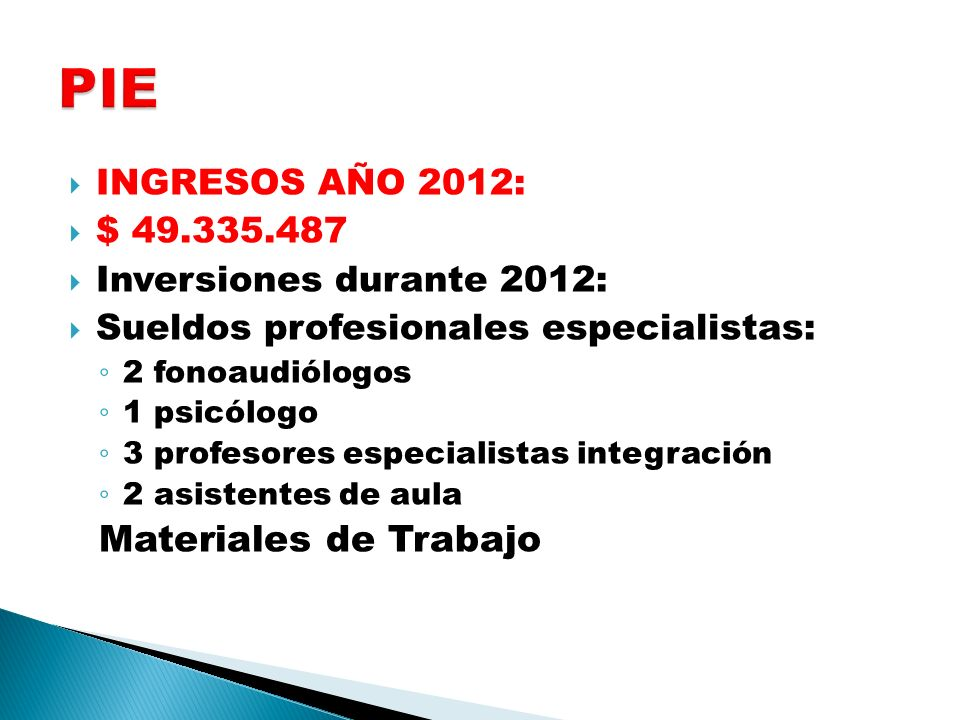 PIE Materiales de Trabajo INGRESOS AÑO 2012: $ 49.335.487