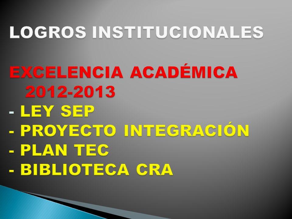 LOGROS INSTITUCIONALES EXCELENCIA ACADÉMICA 2012-2013 - LEY SEP - PROYECTO INTEGRACIÓN - PLAN TEC - BIBLIOTECA CRA