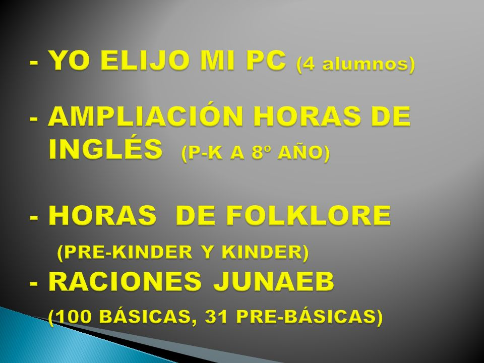 - YO ELIJO MI PC (4 alumnos) - AMPLIACIÓN HORAS DE INGLÉS (P-K A 8º AÑO) - HORAS DE FOLKLORE (PRE-KINDER Y KINDER) - RACIONES JUNAEB (100 BÁSICAS, 31 PRE-BÁSICAS)