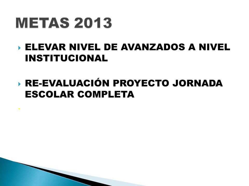 METAS 2013 ELEVAR NIVEL DE AVANZADOS A NIVEL INSTITUCIONAL