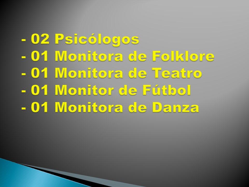 - 02 Psicólogos - 01 Monitora de Folklore - 01 Monitora de Teatro - 01 Monitor de Fútbol - 01 Monitora de Danza