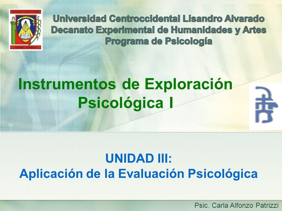 Instrumentos de Exploración Psicológica I