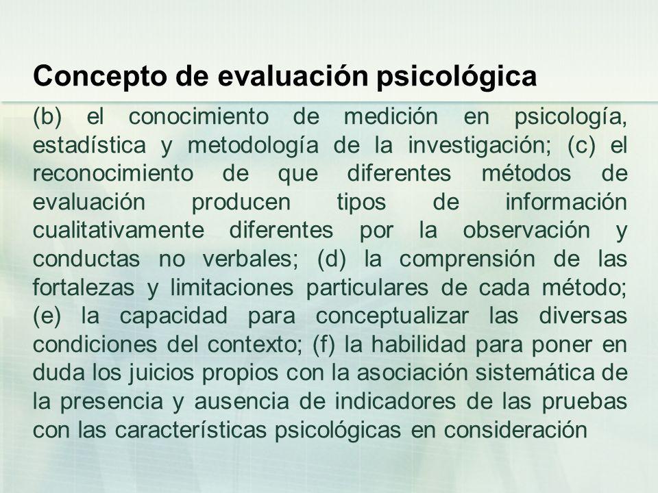 Concepto de evaluación psicológica