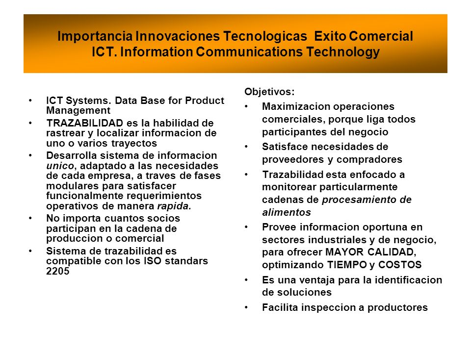 Importancia Innovaciones Tecnologicas Exito Comercial ICT