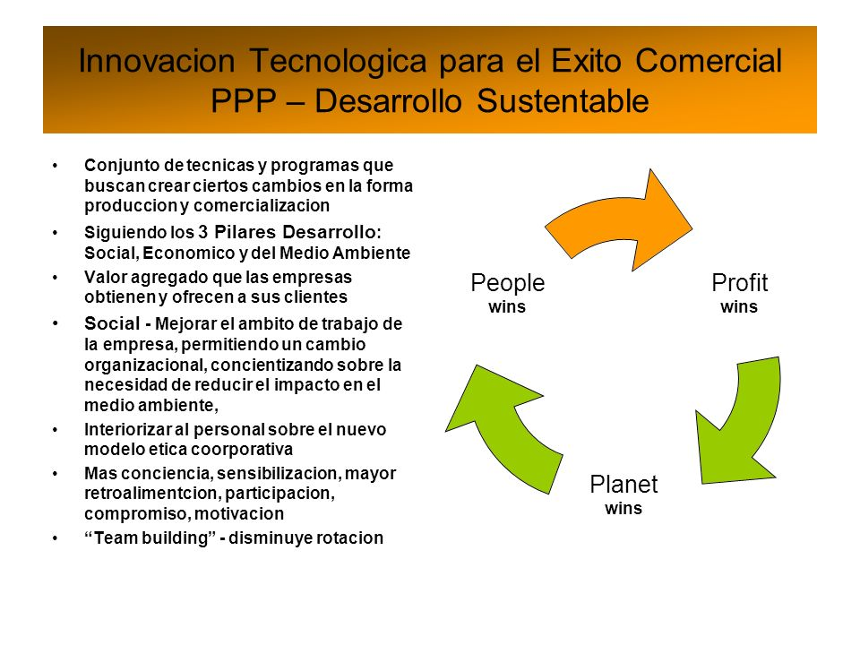 Innovacion Tecnologica para el Exito Comercial PPP – Desarrollo Sustentable